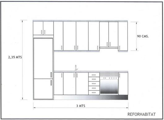 Reformh bitat cocinas for Cocinas lineales de cuatro metros