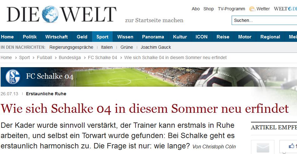 Zeitungsausschnitt Die Welt zur Schalker Kaderplanung