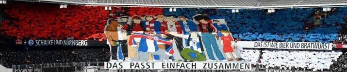 Stadionbild Choreografie Nürnberg und Schalke, Titel: Das passt einfach zusammen