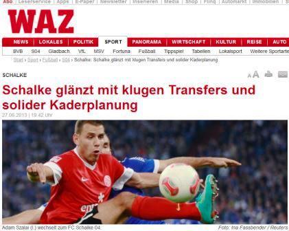 Zeitungsausschnitt WAZ zur Kaderplanung Schalke