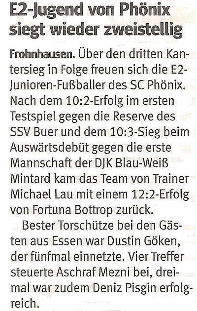 WAZ-Bericht über unseren 12:2 Kantersieg bei SV Fortuna Bottrop