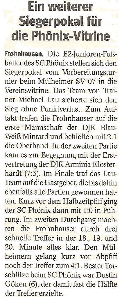 WAZ-Bericht über unseren Turniersieg beim Mülheimer SV 07