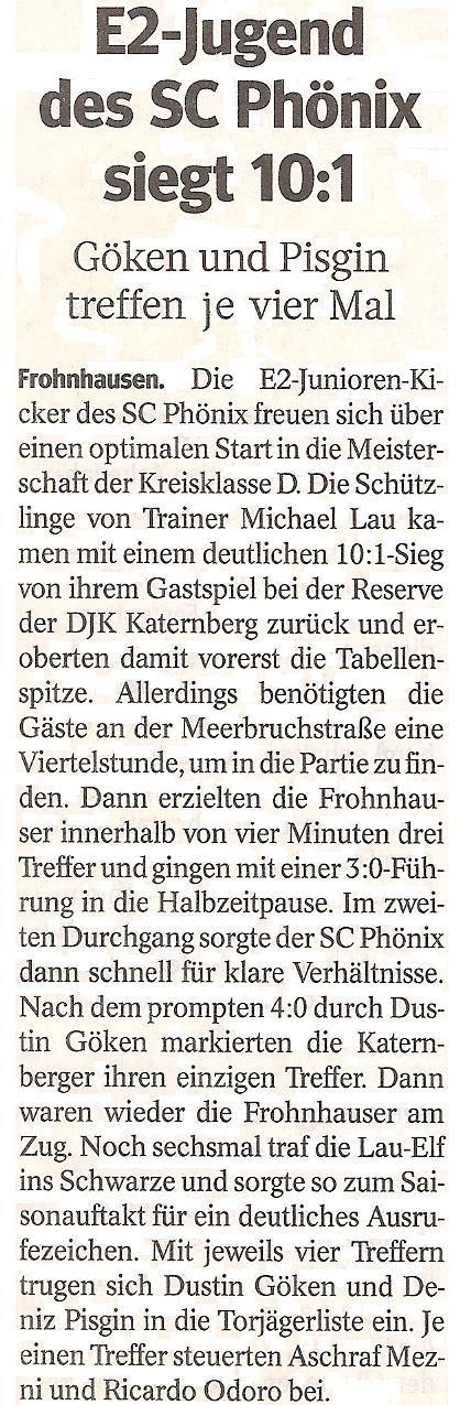 WAZ-Bericht über unseren Sieg im Meisterschaftsspiel gegen Katernberg 1919
