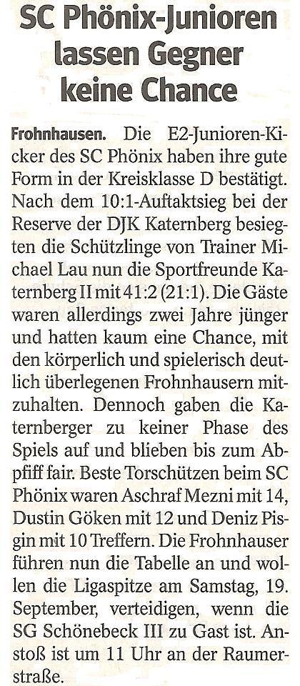 WAZ-Bericht über unseren Sieg im Meisterschaftsspiel gegen Sportfreunde Katernberg