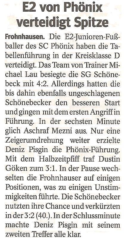 WAZ-Bericht über unseren Sieg im Meisterschaftsspiel gegen SG Schönebeck