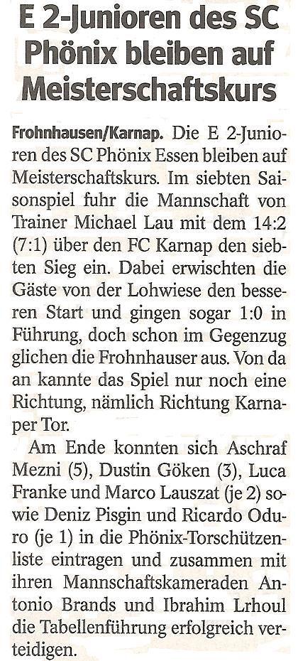 WAZ-Bericht über unseren Sieg im Meisterschaftsspiel gegen FC Karnap 07/27