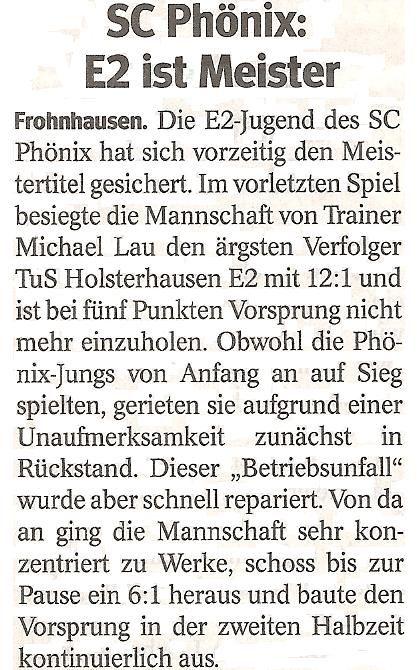 WAZ-Bericht über unseren Sieg im Meisterschaftsspiel gegen TuS Holsterhausen