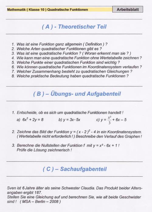 Groß Lösung Quadratische Funktionen Arbeitsblatt Bilder - Super ...