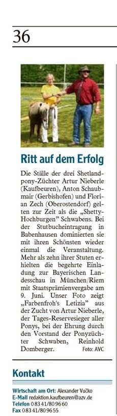 Bericht über die Stutbuchaufnahme in Babenhausen