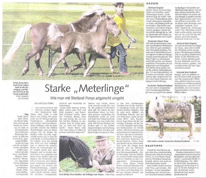 Vorstellung von Shetlandponys im Münchner Merkur 2007