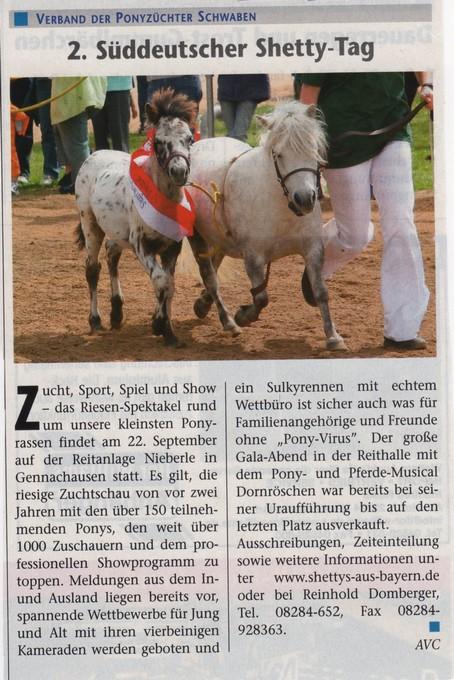 Pressemeldung zum 2. Shettytag 2007 in Gennachhausen
