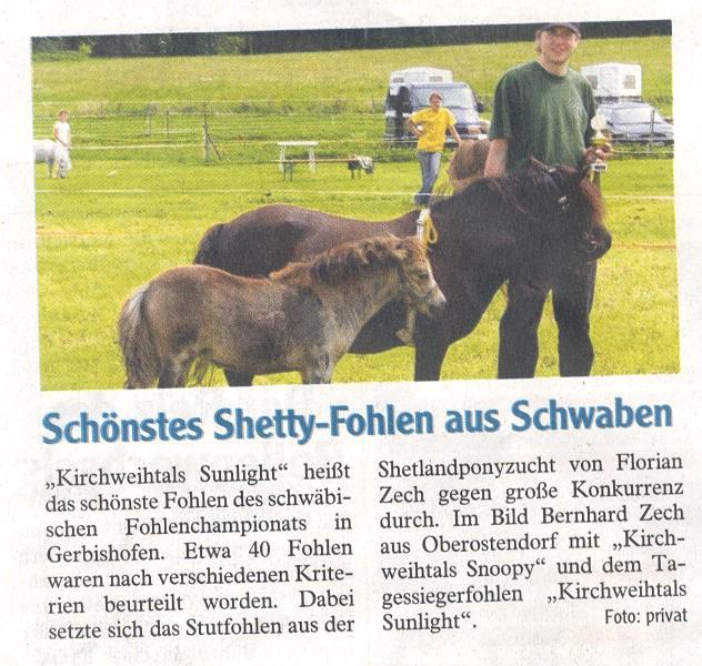 Zeitungsbericht in der Allgäuer Zeitung über das Gesamtsiegerfohlen Kirchweihtals Sunlight beim Schwäbischen Fohlenchampionat 2007 in Gerbishofen