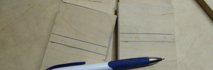Leimholzplattenrest mit Markierungen