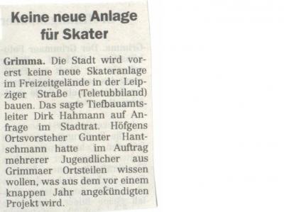 Kein neuer Skatepark !