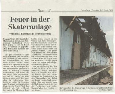 Skatehalle Naunhof abgebrand