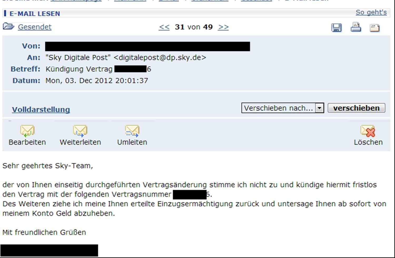 Sky KГјndigen Email