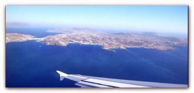 Anflug auf Flughafen Mykonos