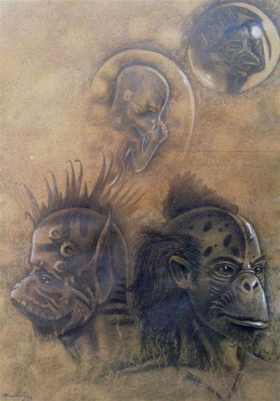 Mutantes. Dibujo sobre Cartulina. 100x80cm. Serie Mutantes