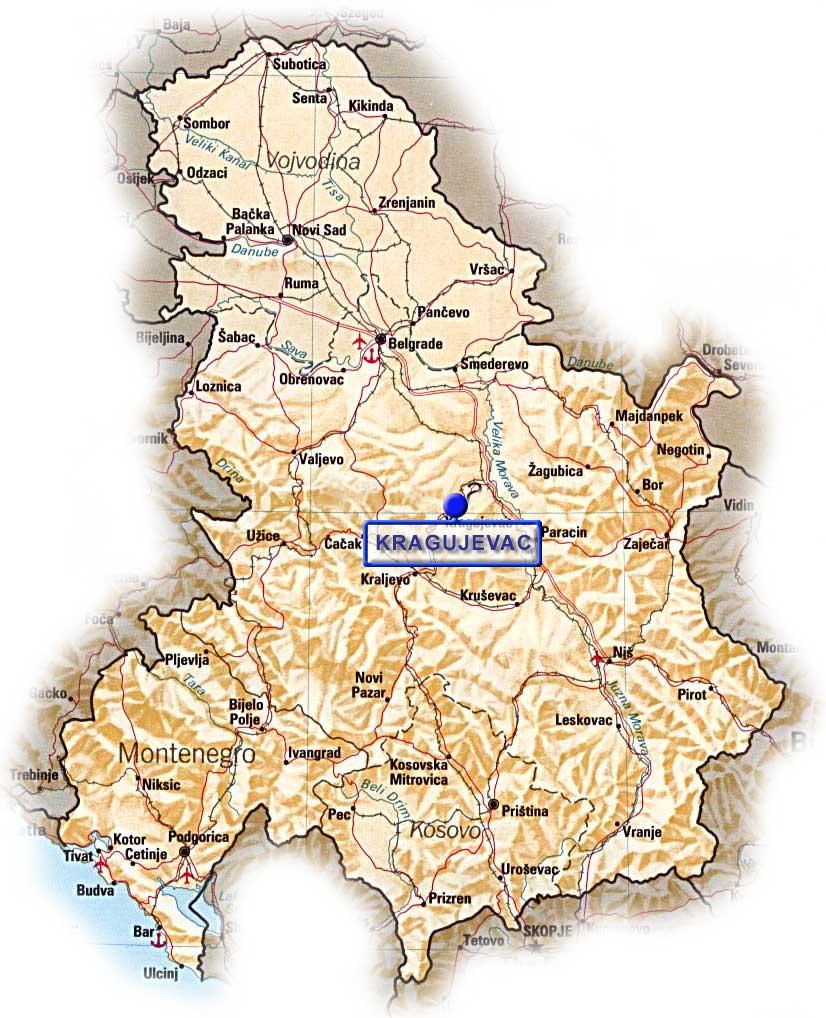 mapa kragujevca i okoline Kragujevac   istorija i zanimljivosti mapa kragujevca i okoline
