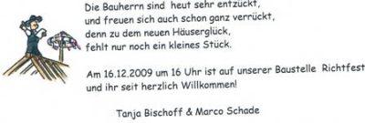bautagebuch - richtfest 16.12.09, Einladung