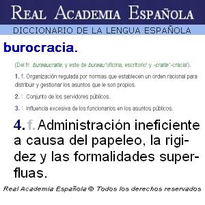 Burocracia según el Diccionario de la Real Academia Española