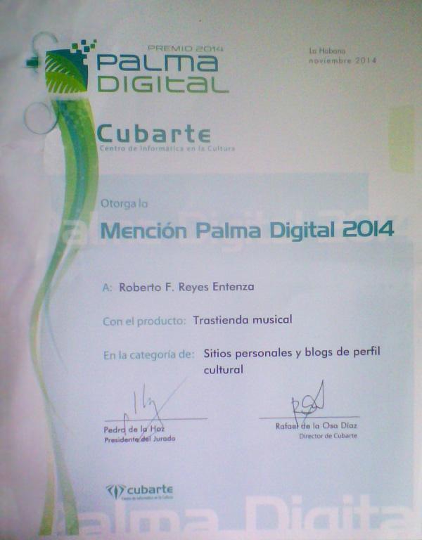 Mención Palma Digital 2014 para Trastienda musical