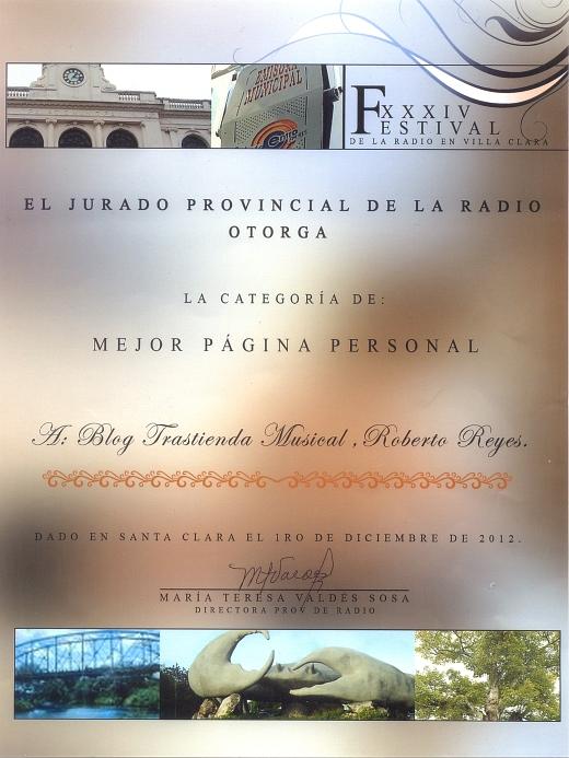 Premio en la categoría de Mejor Página Personal para Trastienda musical