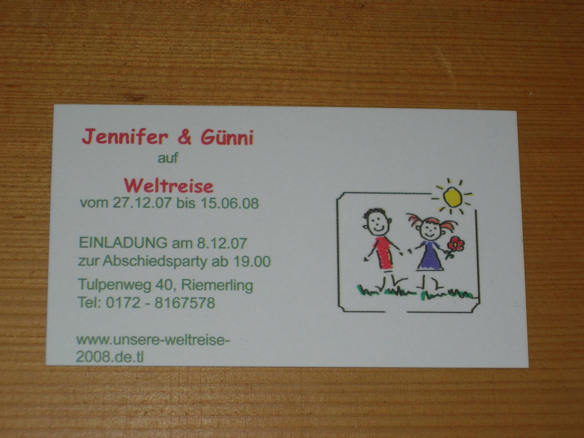günni und jennifer auf weltreise - vorbereitungen, Einladungen