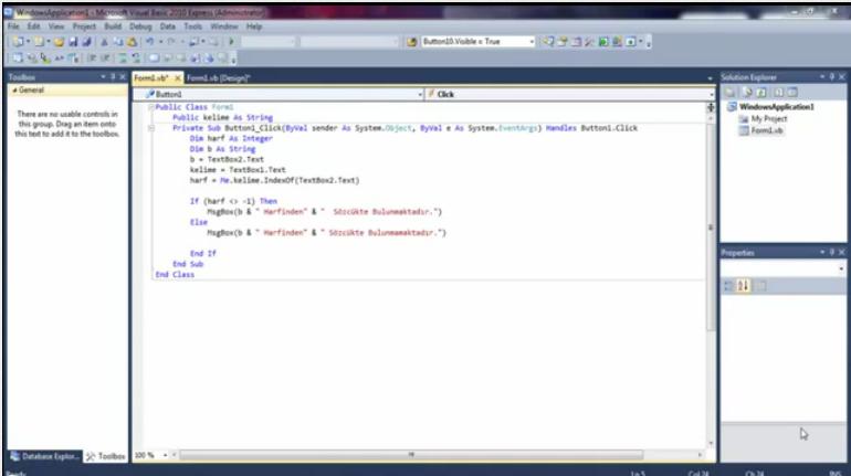 Visual Basic Kelime İçinde Harf Aratmak - VBDersleri.Tr.Gg
