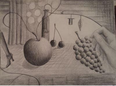 Apfel, Trauben und zwei Kirschen, so nenne ich mein neuestes Bild, das einfach so ohne vorherige Planung aus dem Bauch heraus entstand.