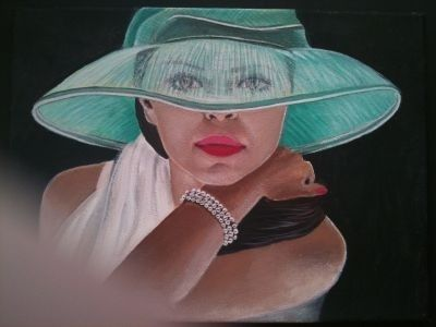gemalte Portraits, Dame mit grünem Hut, gemalt von Lisa Wenderoth, Künstler-Name