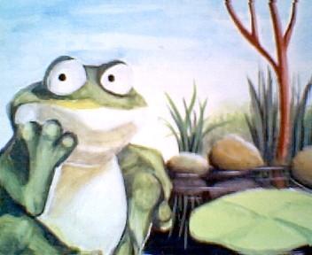 gemalte Portraits, Aus der Foschperspektive oder: Ein Frosch denkt nach