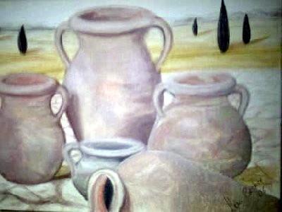Tonkrüge in der Toskana, gemaltes Bild, gemalte Bilder, gemalt von Lisa Becker, Künstlername ist Lissa Wenderoth
