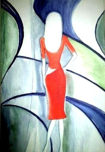 Modenschau, im Surrealismus gemalt, von Elisabeth Becker-Schmollmann, Künstlername: Lisa Wenderot, mit Aquarell-Tubenfarben