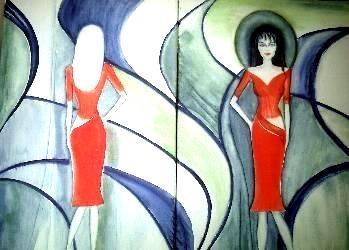Die Modenshow, gemaltes Bild, gemalte Bilder, gemalt von Lisa Becker, Künstlername ist Lissa Wenderoth