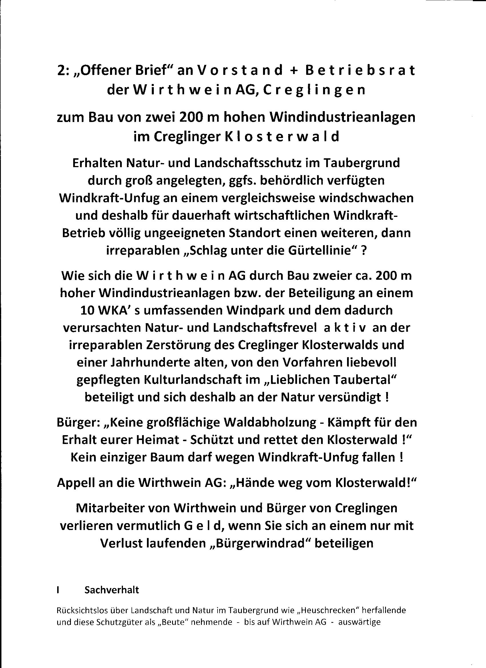 Rettet-den-Klosterwald - Offener Brief an die Wirthwein AG