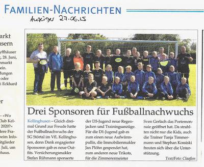 Zimmerei Sven Gerlach - Anzeiger 27.06.2015 - Sponsoring Fußball