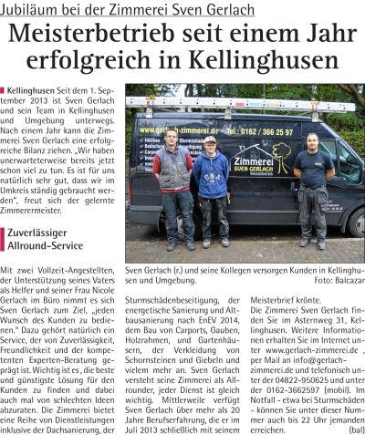 Zimmerei Sven Gerlach - Hallo 22.10.2014 Firmengründung