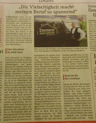 Zimmerei Sven Gerlach - HALLO 05.02.2014 Vielseitigkeit im Beruf