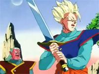 Gohan entrenando con la espada Z